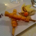 Brochette de fruits legerement caramélisés